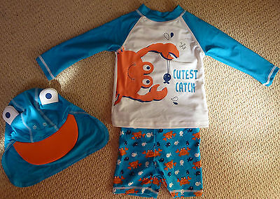 NWT Baby Boys Crab Fish Rash Vest Shorts Hat 3 Piece Swimsuit Set Size 1 or 2