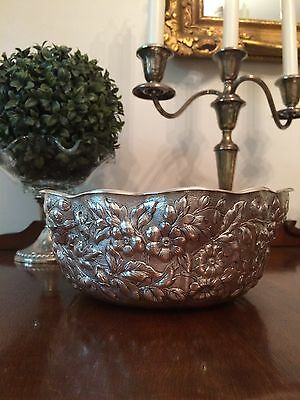 Frank Whiting Sterling Silver Centerpiece Bowl With Repousse Floral Design
