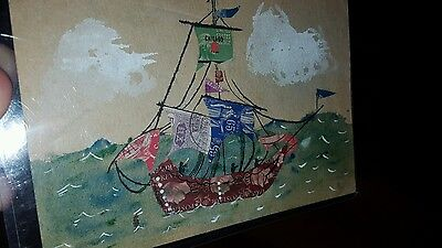 Vintage Unique Postage Stamp Art Nautical Theme Ship Chicago Stamp? Look
