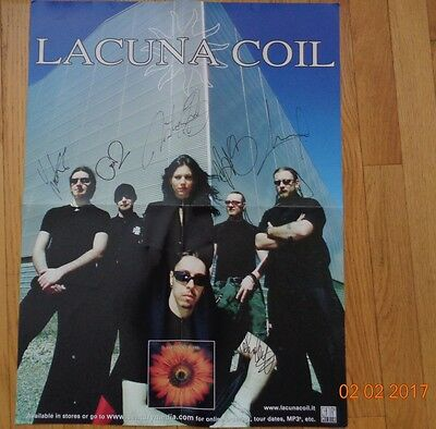 Lacuna Coil signed Comalies promo poster - all 6 members signed (2003/2004 era)