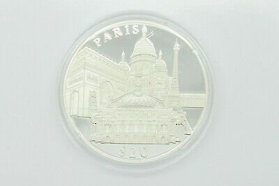 20 Dollars Liberia 2000, Paris, Silber 999/1000, PP / PROOF, SILVER Ag