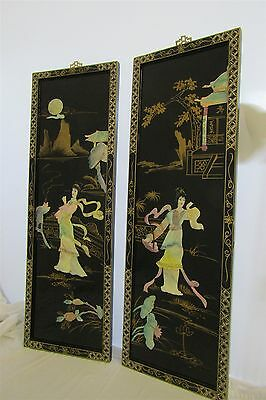 Asian Chinese Lot of 2 Wall Screen Panels Wood Lacquer & Mother of Pearl Shell