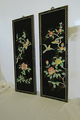 Asian Chinese Lot of 2 BIRDS Wall Screen Panels Wood Lacquer & Mother of Pearl