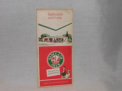 Vintage Sinclair Gasoline Baltimore And Vicinity Road Map,  1958