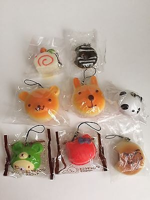Squishy Lot Of 8 Kawaii Rilakuma Hello Kitty Jelly Roll Panda Donut Bread Bun