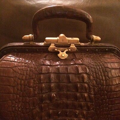 Antique Alligator & Brass Doctor Bag Raised Scales a Beauty