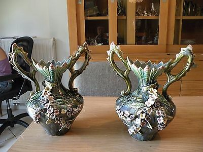 Majolica pair of vases in slips decor with flowers
