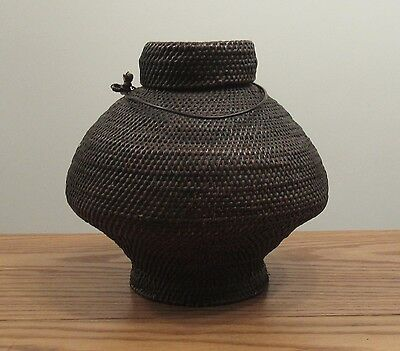 """Antique Japanese lidded basket with metal handle 9""""x10"""" dia round lid foot"""