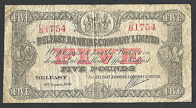 N. Ireland - Belfast Banking Company - 1940 - £5 Five Pound Banknote