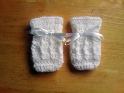 Handmade Crocheted Unisex Baby Mitts with cable pattern  various colours acrylic