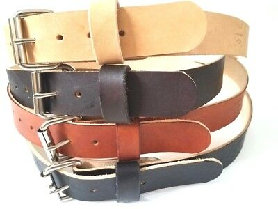 """Heavy Duty Real Leather 1.1/2""""w Work Belt Mens Womens With Heavy  Roller Buckle"""