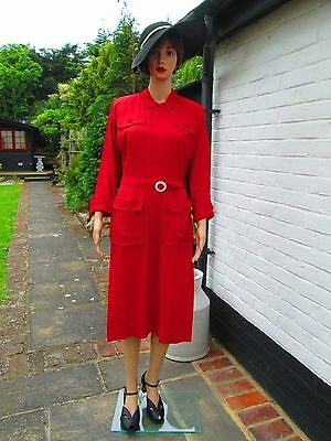 Original True Vintage 40's American Dorothy Hubbs Red Gaberdine Dress UK 10