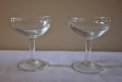 Set of 2 Early Antique Cordial Wine Brandy Glasses Embossed France Stemware