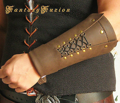 Medieval Renaissance Knight Assassin Cosplay Armor Leather SINGLE Bracer