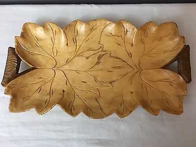 "Leaf Carved Wood Serving Tray Platter With Handles, 14"" Long"