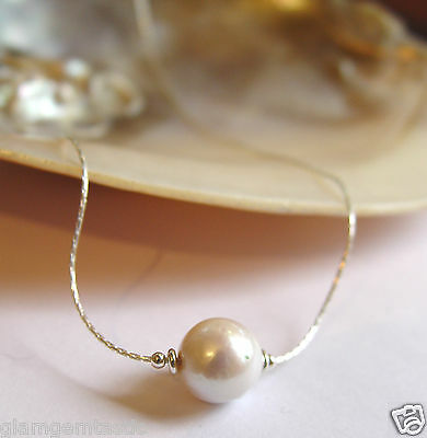 "Cultured Freshwater Pearl Pendant on Sterling Silver 925 Chain Necklace 18"" NEW"