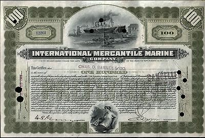 RARE 100sh TITANIC STOCK! 2 SUPER IMAGES! PRINTED 1902, ISSUED 1917! HAND SIGNED