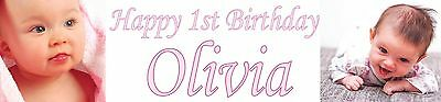 2x Personalised Photo party banners Christening birthday decoration all occasion