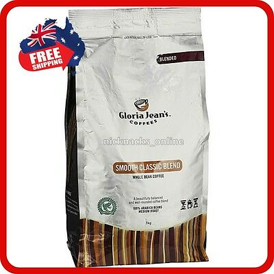 1kg Whole Bean Coffee Gloria Jeans Coffees Smooth Classic Blend