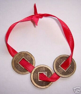 I CHING Feng Shui Coins w/Red String - Wealth, Luck