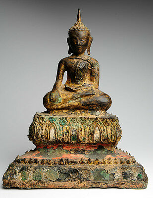 Antiker Buddha Thailand 18./19. Jhd. ORIGINAL 31 cm Bronze antique alt