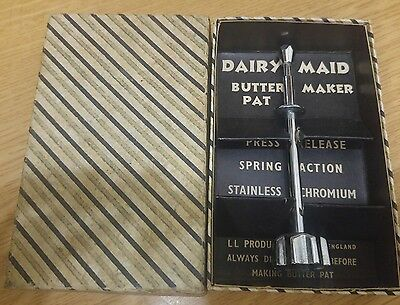 Vintage Dairy Maid Spring Action Butter Pat Maker Stainless Chromium Boxed