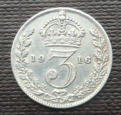 1916 Solid Silver Threepence Piece -  King George V