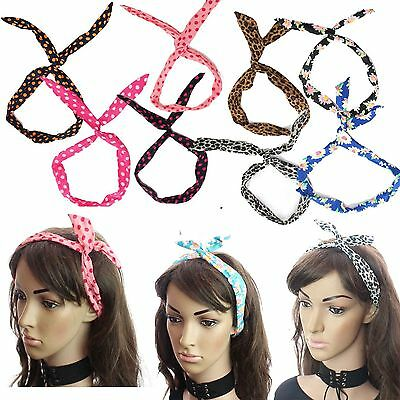 Wired Headband Festival Head Tie Alice Scarf Rockabilly Wire Bendy Hair Band UK