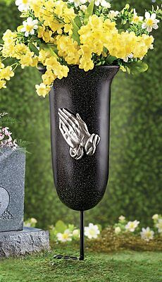 Outdoor Praying Hands Cemetery Memorial Flower Vase with Stake
