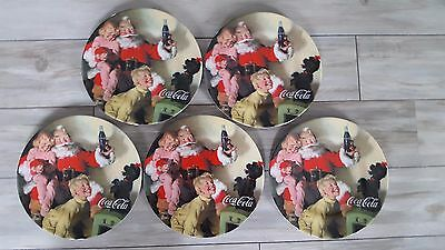 "Lot of 5 Sakura 2002 Coca-Cola Holiday Portrait Santa 8"" Salad Plates NWT"