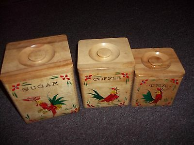 vintage Rooster wooden canister set 3 sugar, tea, coffee good condition