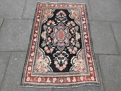 Old Traditional Persian Rug Oriental Rug Hand Made Wool Pink Small Rug 140x90cm