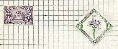 TWO Costa Rica stamps, mint hinged, incl 1923 national monument stamp