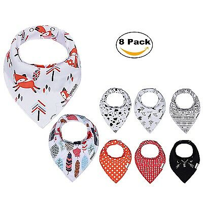 PPOGOO Baby Bandana Drool Bibs Unisex 8-Pack Gift Set for Boys and Girls made...