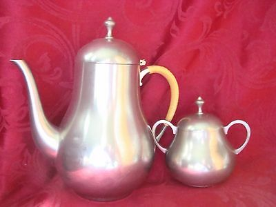 "1960's Vintage KMD Daalderop Royal Holland Pewter 81/2""Teapot & Sugar Bowl"