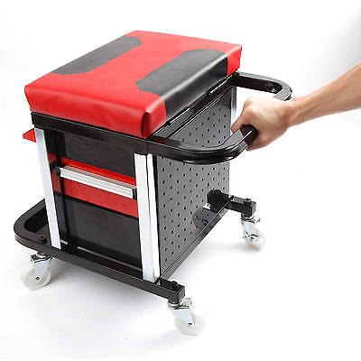 Rolling Tool Cart Box 2-Drawers Creeper Seat Wheels Mechanics Organizer Tray NEW