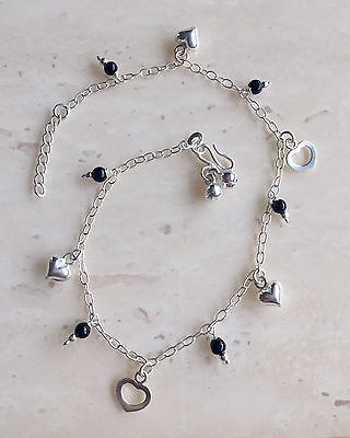 Lovely Black Onxy & 925 Sterling Silver Anklet