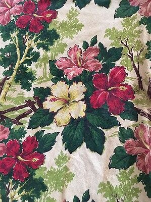 Antique Barkcloth Beige w/ Pink Hibiscus Printed Fabric or Runner 272x41""