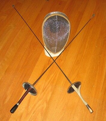 VINTAGE CASTELLO METAL FENCING MASK & 2 FOIL EPEE SWORDS (One Wired)