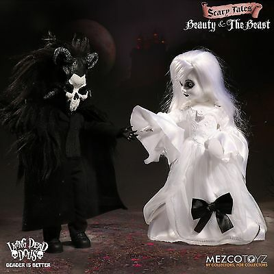 "LIVING DEAD DOLLS PRESENTS BEAUTY AND THE BEAST DOLL FIGURE SET MEZCO 10"" / 25cm"