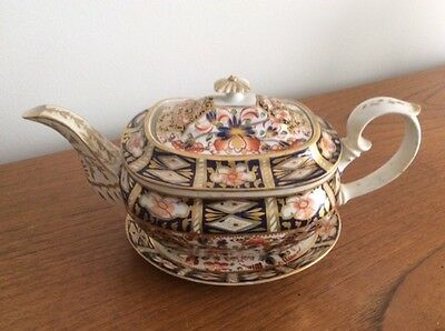 Antique Derby teapot on stand