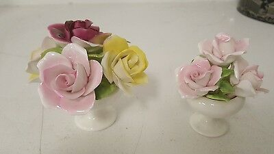 2 Vintage Aristocrat English Porcelain Bone China Rose bouquet figurines