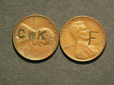 Lot Of 2 US 1936 Lincoln Pennies with Counterstamps, F & CWK  #G4411