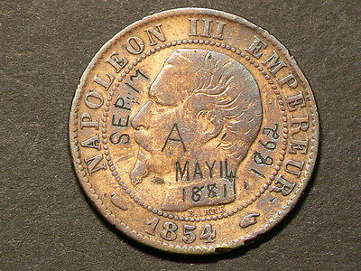 France 1854 A, 5 Centimes, Engraved Sep 1862 May 1881, KM#777.1 #6447