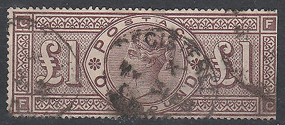 Great Britain G.b. - 1884 Wmk. Crowns £1 Brown-Lilac Fine Used Sg185 Cat. £2800