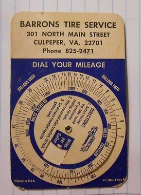 Vintage Barrons Tire Service Dial Your Mileage Identification Card Culpeper, VA.