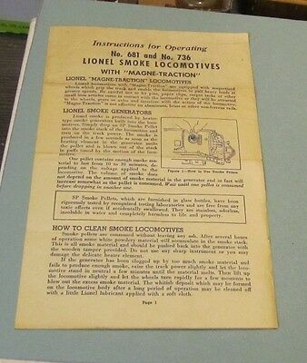1953 Lionel Trains Instructions for Operation Smoke Locomotives No. 681 and 736