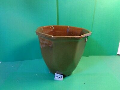 "Frankoma 4 3/4"" Octagonal Vase, Brown, #173 (Used/EUC)"