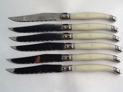 Set Of 6 Laguiole Faux Mother Of Pearl Stainless Steel Steak Knives