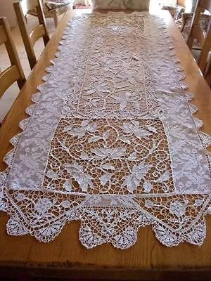 "Gorgeous French Vintage Point Lace Long Table Runner  6ft.9"" long x 29cm) wide"